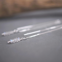 MOONSTONE Sterling Silver, Tide Line, Sparkly Thread Earrings, Adjustable Length