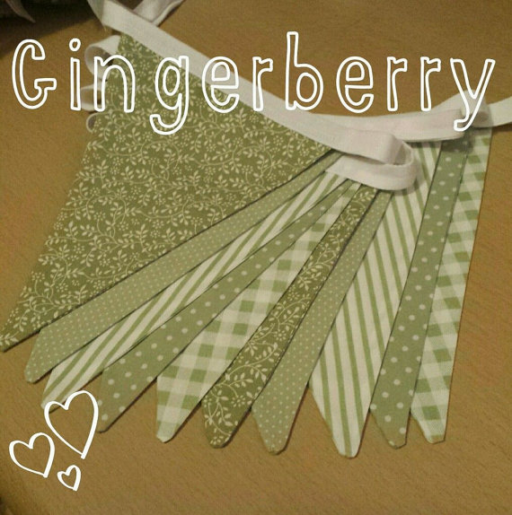 Gingerberry Shabby Chic Sage Green Bunting dots, spots, stripes, gingham floral