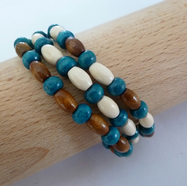 Three teal, brown and cream wooden bead bracelets - 200767