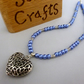 Blue and silver necklace with puffed filigree heart pendant - 100760