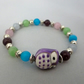 Purple ceramic owl bracelet with pastel cat's eye beads - 200950