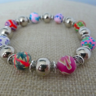 Multi coloured Fimo and silver beaded bracelet - 200965