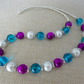 Purple, white and turquoise glass bead necklace - 100884