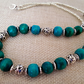 Green and silver wooden bead necklace - 100912