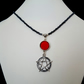 Black seed bead necklace with red rose and pentagram - 100913
