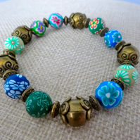 Blue, green and bronze Fimo bead bracelet - 200824