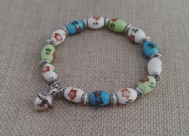 Blue, green and white ceramic bead bracelet with acorn charm - 200702