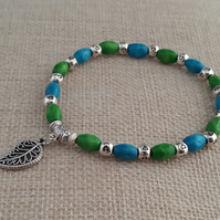 Apple green and turquoise wooden bead bracelet with leaf charm - 200900