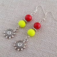 Red coral and neon yellow earrings with Tibetan silver sunflower charms