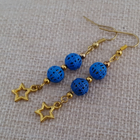 Cobalt blue and gold star earrings