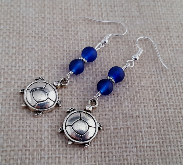 Blue and silver turtle earrings