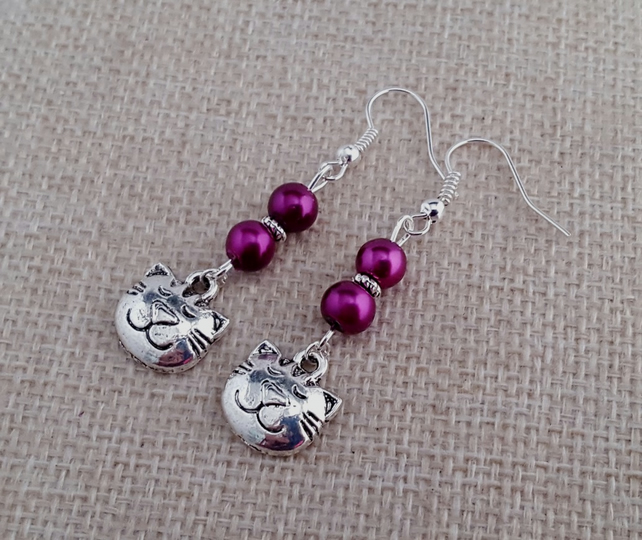 Magenta and silver cat earrings