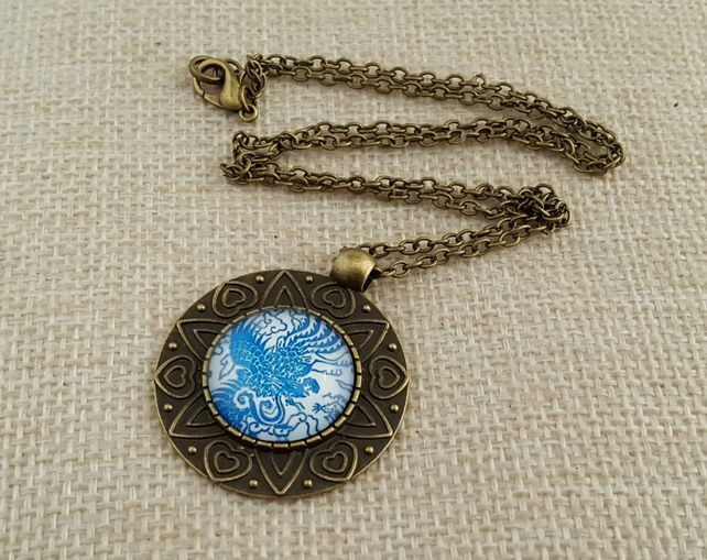 Bright blue and white China pattern necklace