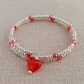 Silver seed bead bracelet with red glass heart charm - 2001058