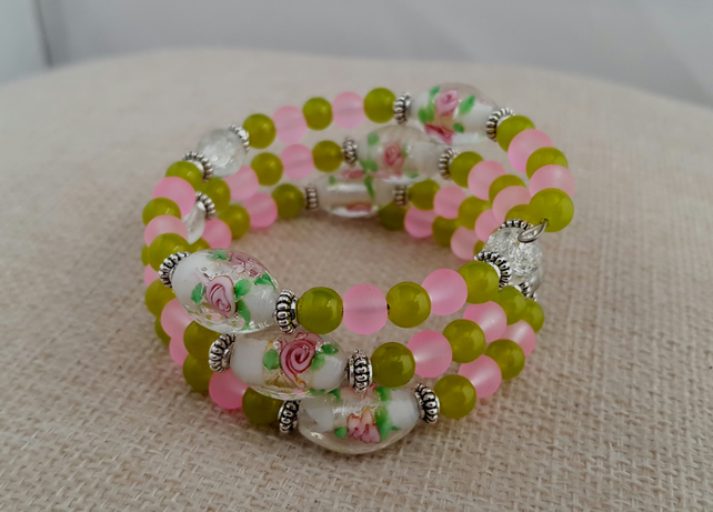 Pink, green and white lampwork glass wrap bracelet - 2001047