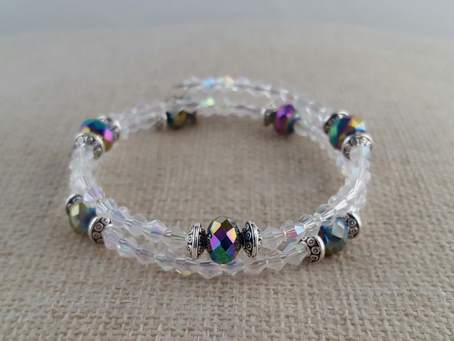 Clear faceted glass bracelet with rainbow lustre AB beads - 2001040