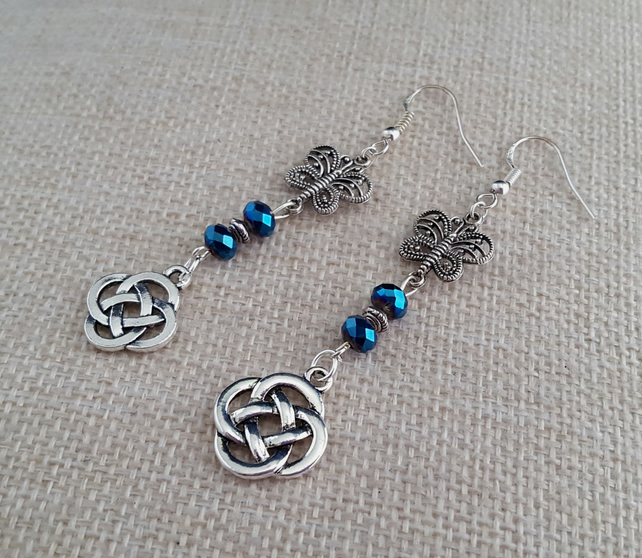Sparkly blue and silver Celtic knot earrings