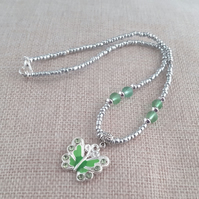Green and silver butterfly necklace - 1001134