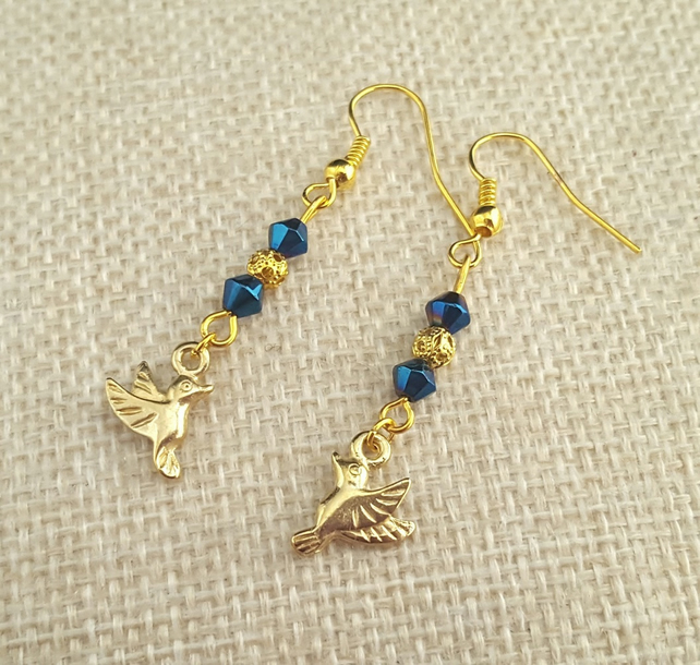 Sparkly blue and gold mocking bird earrings