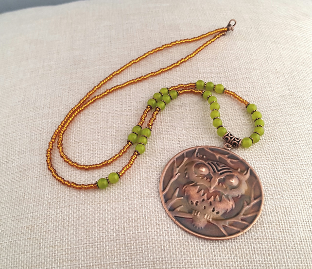 Long green peridot and copper owl necklace - 1001159