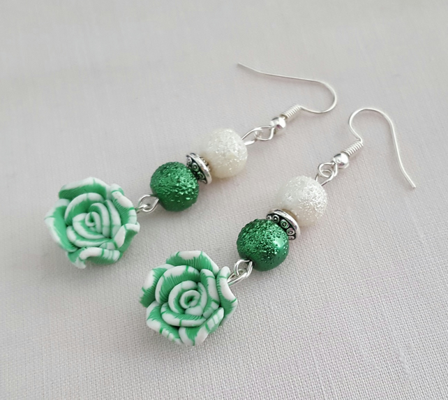 Green and white Fimo rose earrings