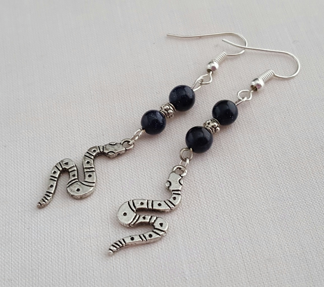 Blue goldstone and Tibetan silver snake earrings
