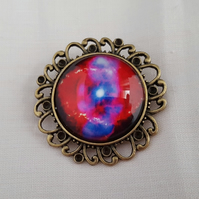 Pink and purple Cosmos brooch