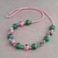 Pink and green mottled glass bead necklace - 1001343