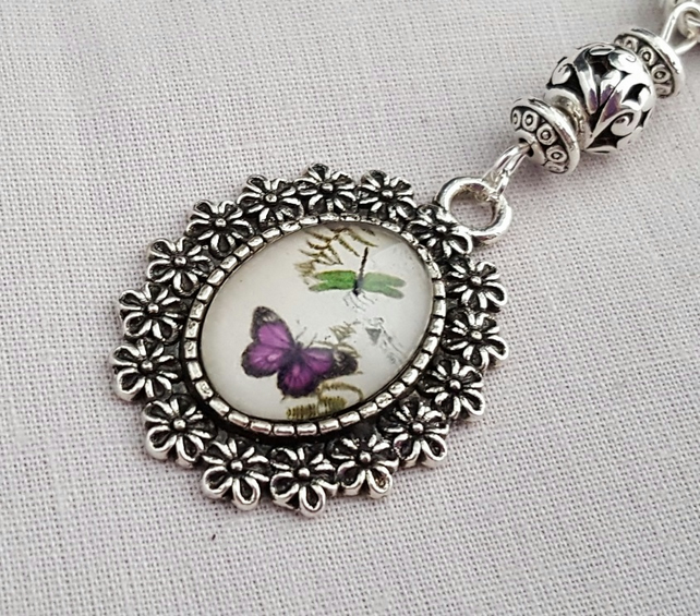 Pink butterfly glass pendant necklace