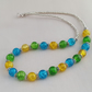 Turquoise, lime and yellow crackle glass bead necklace - 1001354
