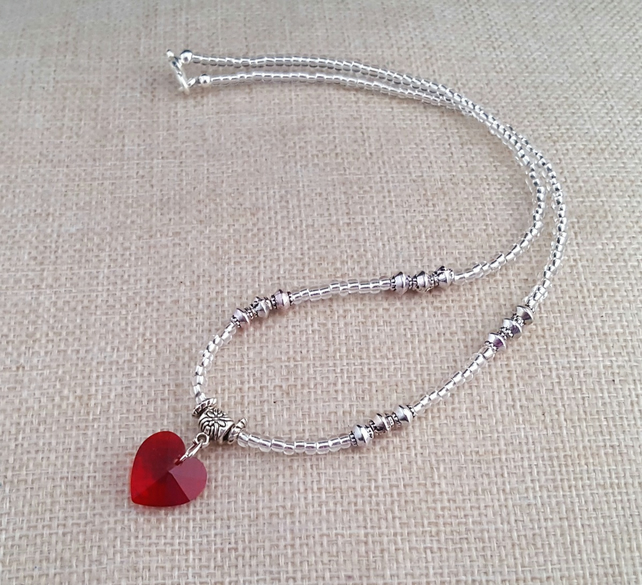 Dainty silver necklace with red glass heart - 1001318