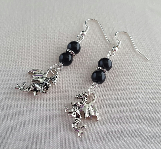Black and Tibetan silver dragon earrings