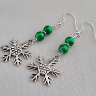 Emerald green and silver snowflake earrings