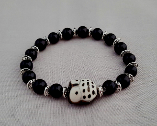 Black ceramic owl bracelet - 2001113