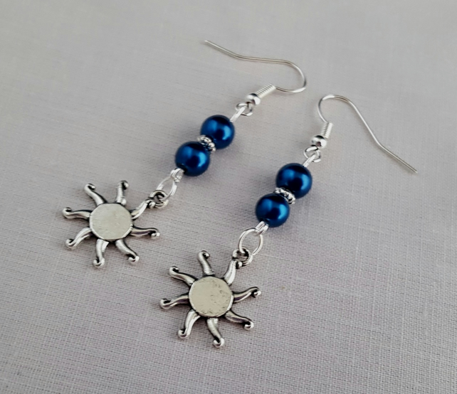 Peacock blue and silver sunburst earrings