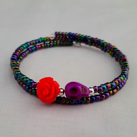 Iris lustre seed bead bracelet with skull and rose - 2001128