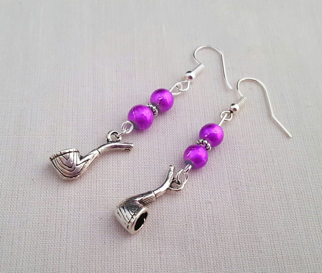 Pink and Tibetan silver pipe earrings