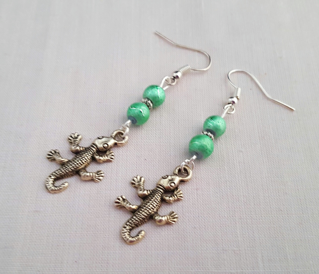 Gecko earrings - Tibetan silver and sea green