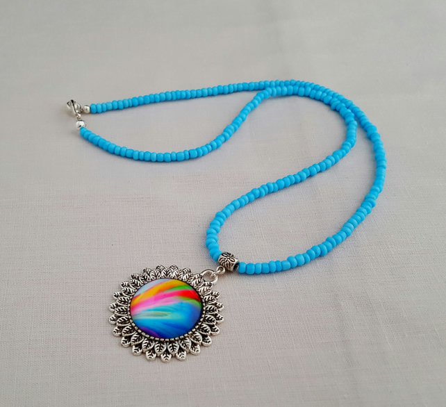 Turquoise seed bead necklace with rainbow glass pendant - 1001479