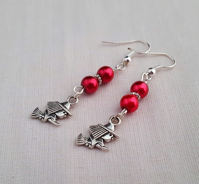 Red and silver Halloween witch earrings