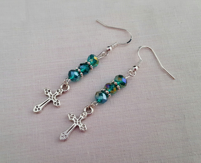 Sparkly green and silver crucifix earrings