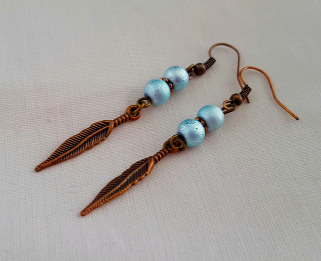Sea green and copper feather earrings