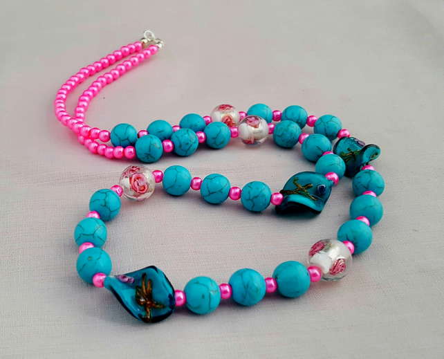 Turquoise and pink lampwork and marbled glass bead necklace - 100909