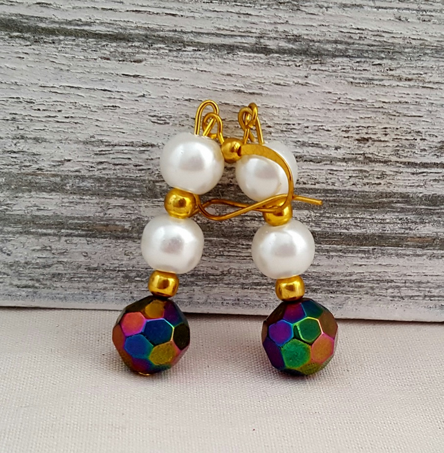 White pearl and shimmery purple electroplated bead earrings