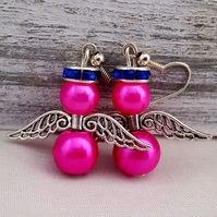 Bright pink and silver angel earrings