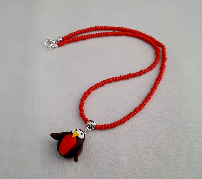 Fimo robin necklace - 1001608