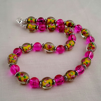 Yellow and pink lampwork glass bead necklace - 1001629