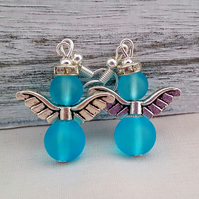 Turquoise Christmas angel earrings
