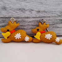 Fimo gingerbread reindeer earrings