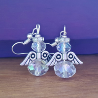 Clear glass and Tibetan silver angel earrings